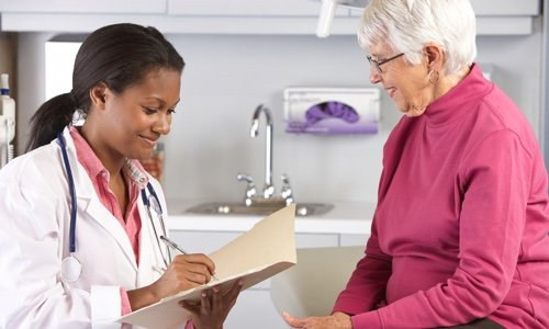 Doctor interviewing a patient.